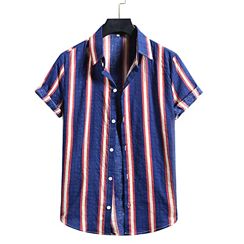 T-Shirt Hombre Verano Estampado Tapeta con Botones Manga Corta Hombre Shirt Básico Cuello Kent Moderno Hombre Camisa Cómodo Holgado Hawaii Hombre Camisa Playera I-Multicolor 9 XXL