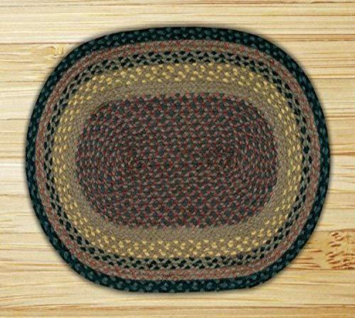 Earth Rugs C-099 - Alfombra Ovalada (27 x 45 cm), Color marrón/Negro/carbón Vegetal