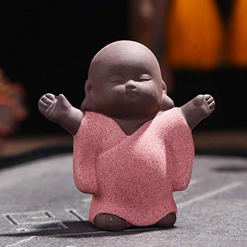 1 Stück Lila Ton Tee Haustier Lila Dekoration Buddha Kleiner Mönch Mini Tee Haustier Tee Zubehör, Fröhlicher Mönch