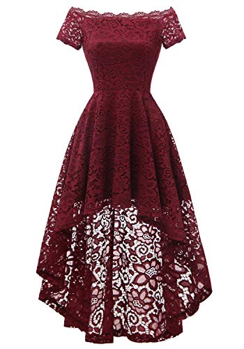Dressystar Women's Lace Cocktail Dress Hi-Lo Off Shoulder Bridesmaid Swing Formal Party Dress 0042 Burgundy XS