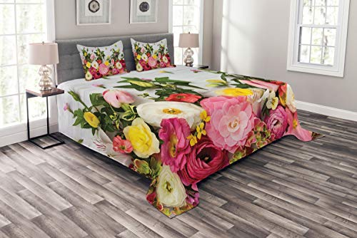 ABAKUHAUS Rústico Cubrecama, Ramillete de Flores Ranúnculos Fondo de Madera Rosa Arreglo Floral Patrón Primavera, No se Desliza de la Cama, 264 x 220 cm, Multicolor