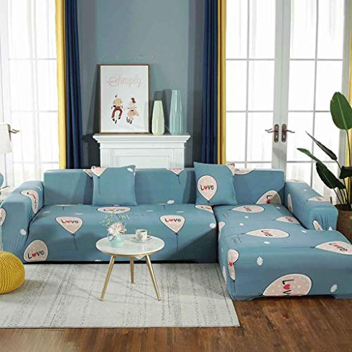 2 stuks L-vormige Sofa Cover Hoes van honden huisdieren en kinderen, Modern Stretch Corner sectionele bank Furniture Protector Covers (Color : 1, Size : AA(190-230CM)+BB(190-230CM))