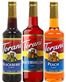 Torani Syrup Summer Fun 3 Pack Assortment, Watermelon, Peach, and Blackberry, 25.4 Ounce Bottles Each