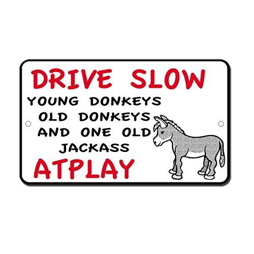 Lplpol Drive Slow Donkeys Jackass At Play – Cartel Divertido de Aluminio de 30,48 x 45,72 cm