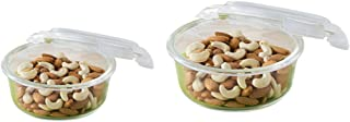 Borosil Microwavable Klip - N - Store Round Dish with Lid - Set of 2 (400, 620 ml)
