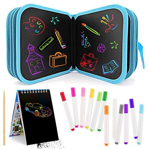 14página Tabla de Dibujo Portátil para Niños, Tablero de Dibujo de Graffiti Innovadora Pizarra Dibujar, Libros Blandos de Pizarra para Escribir y Dibujar con 12 Bolígrafos Borrables & Papel de Rascar