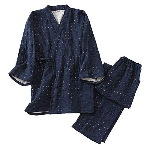 Costume de Pyjama en Coton Kimono Japonais Double Gaze pour Hommes, Grande Taille, vêtements Zen, vêtements taoïstes (Taille XL, A3)