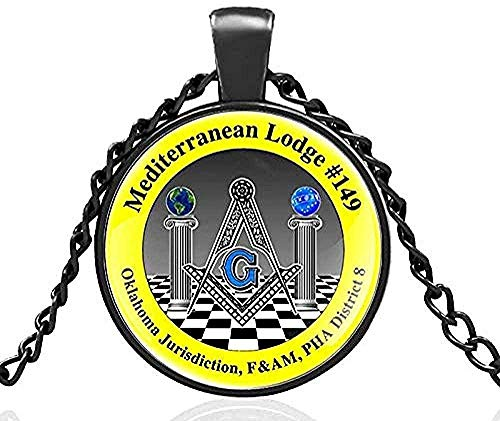 WYDSFWL Collar Masonería mística Logia mediterránea Cúpula de Cristal Collar de Metal Colgante Cadena Vintage Gargantilla Joyería para Hombres y Mujeres Regalo Longitud de la Cadena 80cm Collar