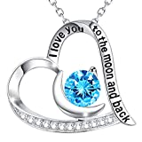 december birthstone blue topaz necklace for women birthday gifts wife mom christmas i love you to