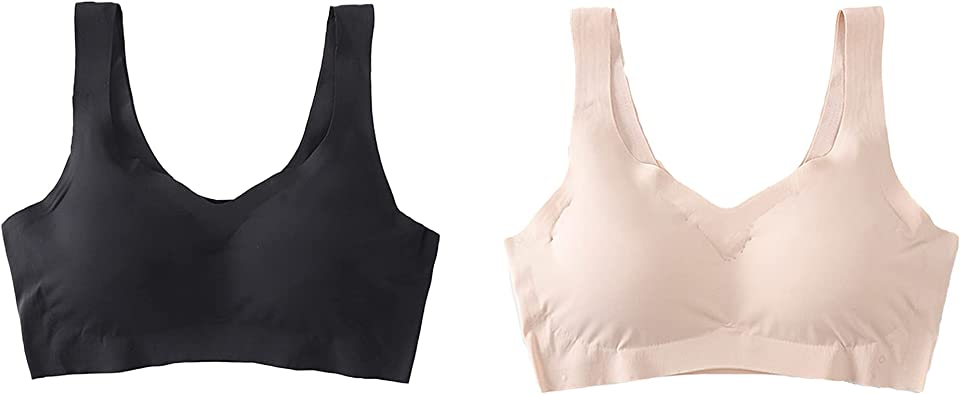 Comfort Bra Sports Bra Removable Pads Sleep Bra Non-Wired Bras for Women Bralette Plus Size Sleep Bras Seamless Bras Yoga Bra Everyday Bra 3 Pack