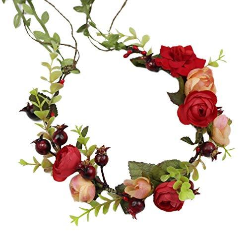 QFF Q Guirnalda de Flores Nupcial Tocado Cintas largas Rojas Sen Diadema Studio Foto Dulce Regalo Accesorios F