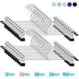 IEOKE Pant Hangers, Skirt Hangers with Clips Metal Trouser Clip Hangers for Heavy Duty Ultra Thin Space Saving (20pack)