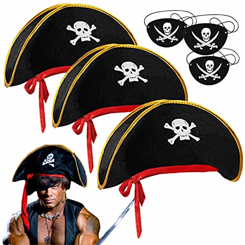 Tee-Moo LYXIHAP 3 Piece Set of Retro Skull Print Pirates of The Caribbean Hat Halloween Party Pirate Party Theme Decoration, Free Charming Mustache and Eye Patch