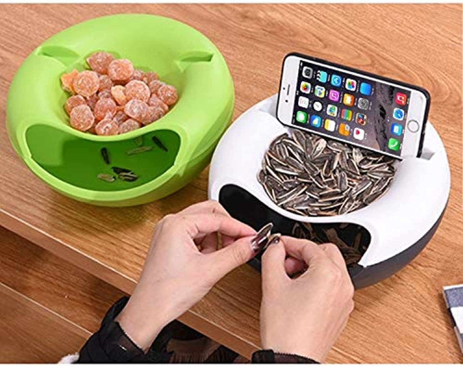 Beautify Storage Box Multifunctional Double Layer Dry Fruit Containers Snacks Seeds Garbage Desk Phone Holder Plate Dish, Size 20  11cm, Random color Delivery Practical