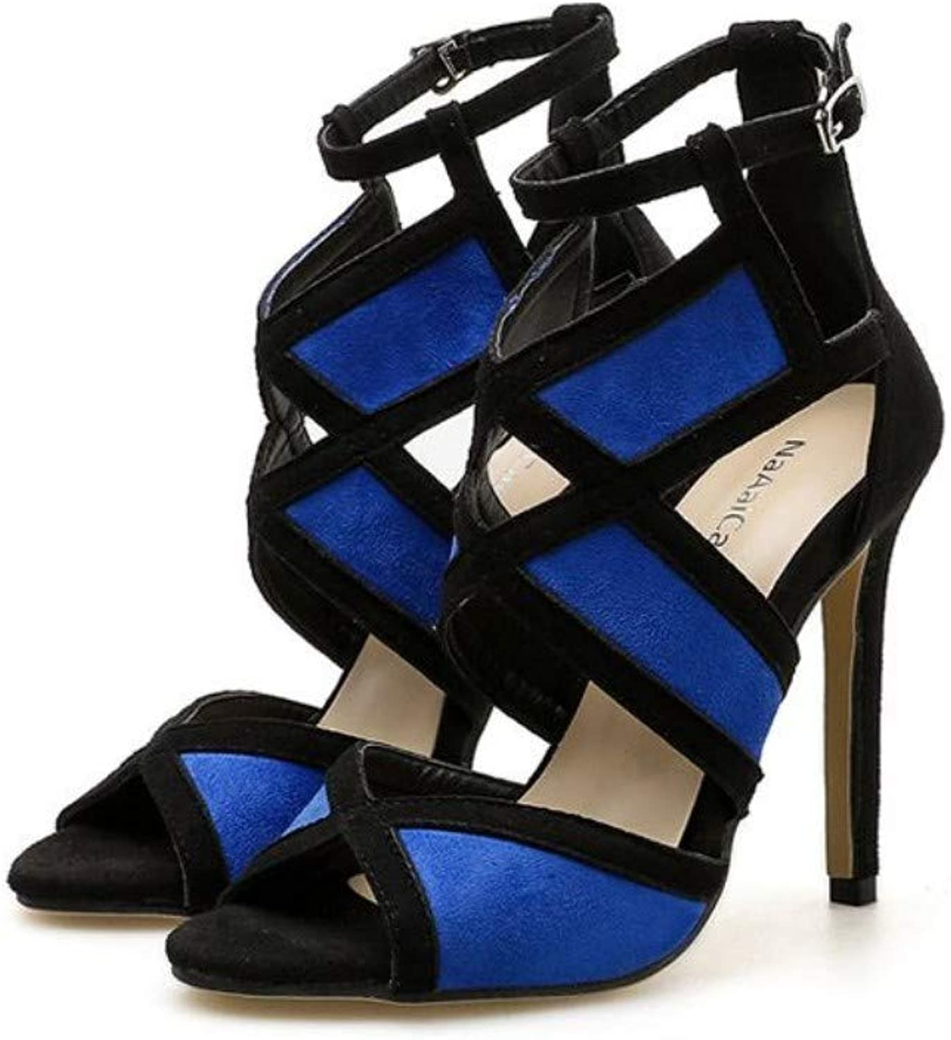 JQfashion Women's High-Heeled shoes Spring and Summer High-Heeled Sandals Sexy Fine-Heeled Suede Fishmouth shoes