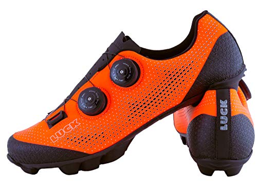 LUCK Excalibur Zapatillas Ciclismo MTB | Naranja Flúor | Suela de Carbono...