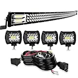 Led Light Bar Curved TURBO SII 50 Inch 684W Triple Row Flood Spot Combo Beam Led Bar W/ 4Pcs 4 Inch 60W Off Road Driving Fog Lights with Wiring Harness-3 Leads for Trucks Jeep Ford Polaris ATV Boats