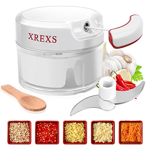 XREXS Mini Zwiebelschneider Manuell - Mini Küchenmaschine, Knoblauchpresse Fleischwolf, Zwiebelhacker, Zerkleinerer für Knoblauch, Zwiebel, Pfeffer, Ingwer, Fleisch (1 Mini Löffel Inklusive)