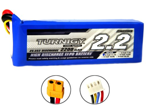 Turnigy Li-Po battery for T-rex 450, 2200 mAh, 3S, 11.1 V, 25 °C-35 °C