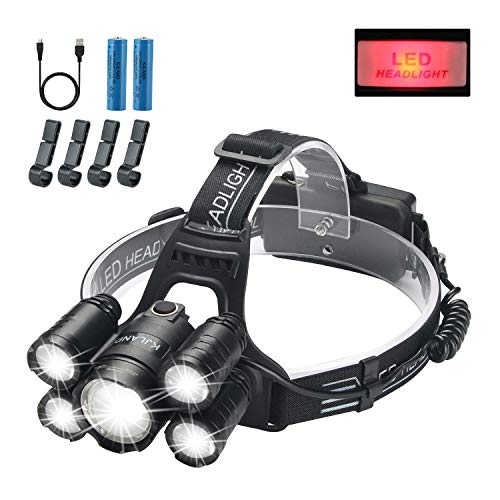 Led Headlamp Rechargeable, KJLAND High Lumen Ultra Bright 5 LED Head light, USB Rechargeable Waterproof Headlight Flashlight with Zoomable, 4 Modes Head Lamp for Outdoor Camping Hiking Fishing Hunting