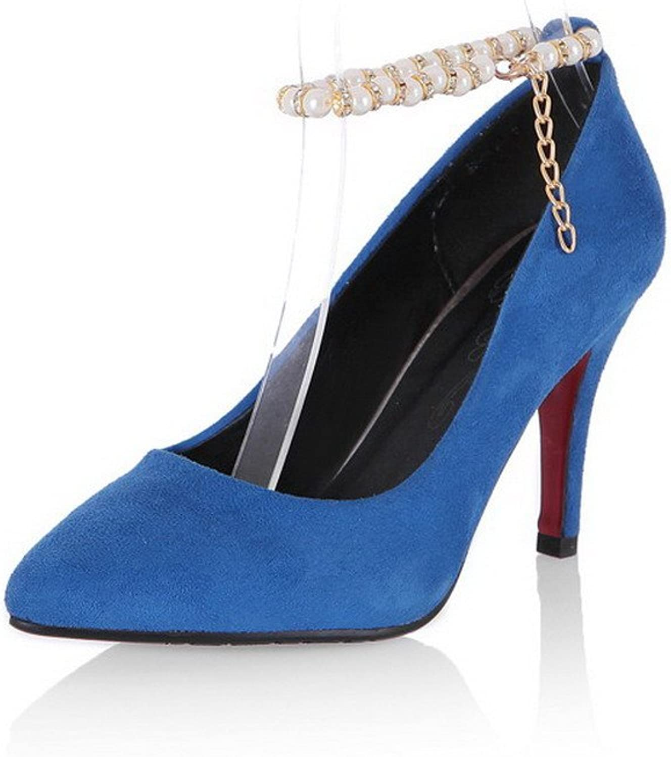 AllhqFashion Women's High-Heels Solid Buckle Pointed-Toe Pumps-shoes