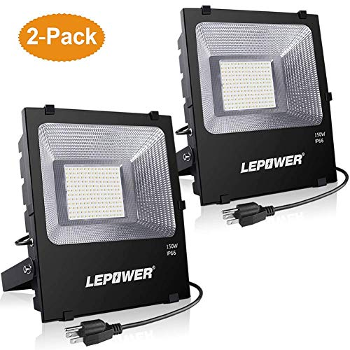 LEPOWER 150W LED Flood Light Outdoor 2 Pack, Super Bright LED Work Lights with Plug, 11000lm 6000K White Light, IP66 Waterproof Outdoor Floodlights for Garage, Playground, Backyard, Basketball Court