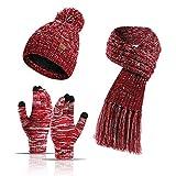 3 PZ Inverno Caldo Cappello Sciarpa Guanti Set per Donne Uomini Maglia Pile Touchscreen Guanti Beanie Cappello Sci Cap - rosso - taglia unica