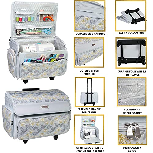 Everything Mary 4 Wheels Collapsible Deluxe Sewing Machine Storage Case, Black - Rolling Trolley Carrying Bag for Brother, Singer White/Grey Flower