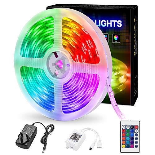 Lumiere Led, Bandes LED 5m avec Télécommande, Rubans à LED, Lumières LED Changeantes de Couleur RVB pour Chambre à Coucher, Décoration de Bricolage, éclairage de fête