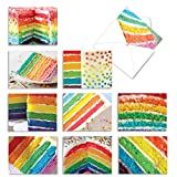 The Best Card Company - 10 Blank Food Note Cards Boxed (4 x 5.12 Inch) - All Occasion Assortment, Bulk Set - Rainbow Cakes M6565OCB