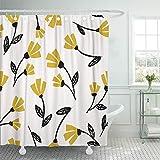 GABRI Duschvorhang-Blumen-Muster im schwarzen Senf-Gelb & im Creme-schönen Blumenwand-Design-Duschvorhang-Satz