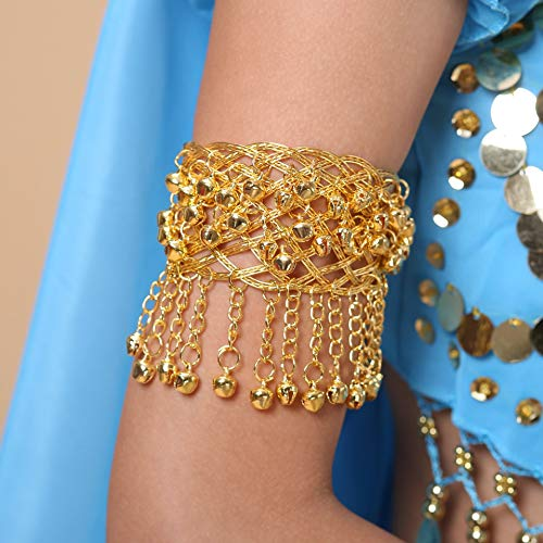 Cadena de brazo de la campana de baile indio, accesorios de disfraces de danza del vientre, pulsera, nueva cadena de brazo de bell de danza del vientre ( Color : Bell arm ring , Size : Golden )