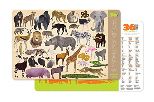 Crocodile Creek-36 Wild Animals 2-Sided Set de Table, 2843-4, Tan/Green/Orange/Brown/Pink