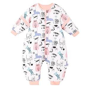 Saco de Dormir para bebé con piernas, para Invierno, Manga Larga, con pies y Zapatos de bebé, 3,5 TOG, tamaño de 82 cm a 90 cm, diseño de búho, Color Rosa