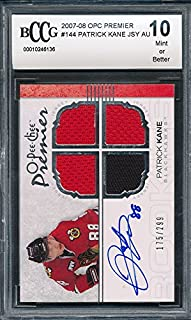 2007-08#144 OPC O-Pee-Chee Premier Jersey Autograph /299 Patrick Kane Rookie Card Graded BCCG 10 * 136