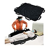 Positioning Bed Pad Patient Transfer Sheet with Handles Draw Sheets Incontinence Stroke Bedridden Transfer Blanket Hospital Bed Pads for Lifting, Turning, Sitting Up, Washable 43' X 36' (Black)