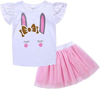 SUPEYA Baby Girl Rabbit Print Fly Sleeve Tops+Tulle Dress Easter Outfits 2Pcs Set