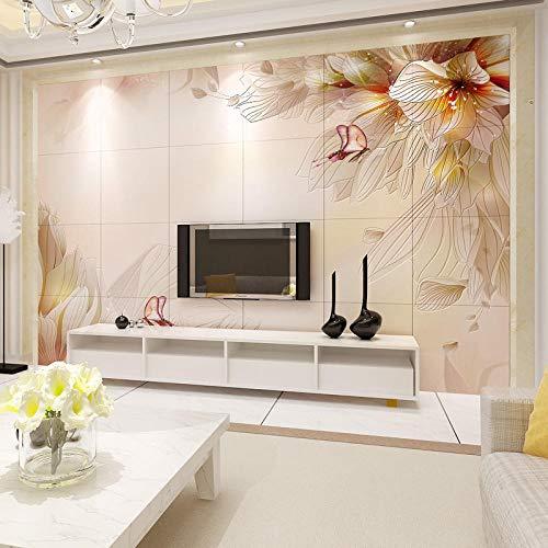 XHXI Shannuoer 3D Tridimensional Azulejo de cerámica Fondo de pared Sala de estar Fondo de TV Azulejo de pared Tallado pers papel Pintado de pared tapiz Decoración dormitorio Fotomural-200cm×140cm