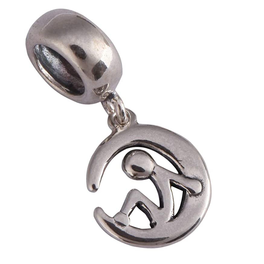 Sitting on the Moon Charm Blessed Charm Sterling Silver Charm Bead fits All Charm Bracelets Women Girls Birthday Gifts EC510