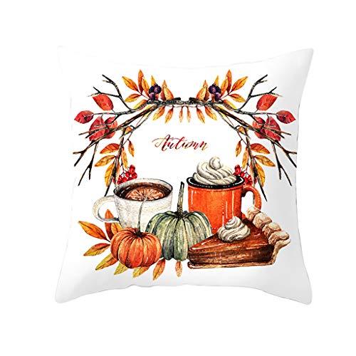 FeiliandaJJ Halloween Deko Kissenbezug 45x45cm Aquarell Kürbis Drucken Zierkissenbezug Kissenhülle Pillowcase 18x18 für Couch Wohnzimmer Sofa Bed Auto (G)