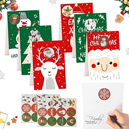 24 PCS Weihnachtskarten,Weihnachten Karten,Klappkarten Grußkartenfür Frohe Weihnachten,Weihnachten Karten personalisiert,Klappkarten,Grußkarten,Handmade Weihnachtsgrußkarte-Frohe Weihnachten(D)