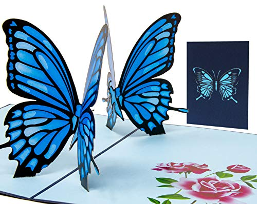 LIMAH® Pop Up 3D Schmetterling-Karte, Glückwunschkarte, Freundschaftskarte, Geschenkkarte, Geburtstagskarte, Überraschungskarte für Jungen und Mädchen (Blau)