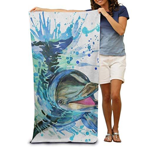 BNUJSAGIF Toalla de baño súper suave acuarela divertido delfín toalla de playa de secado rápido manta de viaje toalla de natación toalla de spa tamaño grande 31 pulgadas x 51 pulgadas