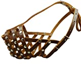 Secure Leather Mesh Basket Dog Muzzle #15 Brown - Rottweiler (Circumference 13.5', Snout Length 4')