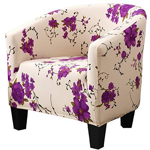 XDKS Fundas para sillón, fundas para sillón, funda elástica a prueba de polvo, funda protectora universal para silla de baño, decoración para sala de estar, comedor (blanco y morado)