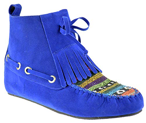 Nature Breeze Cherokee 14 Womens Fringe Tribal Pattern Fringe Moccasin Ankle Booties Blue 7