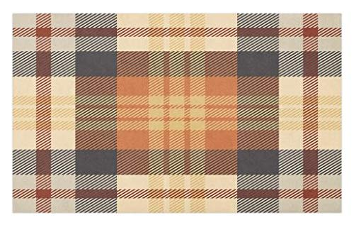 Lunarable Abstract Doormat, Nostalgic Plaid Motif Stripes Classic Checkered Celtic Fashion Design, Decorative Polyester Floor Mat with Non-Skid Backing, 30' X 18', Dark Peach Champagne