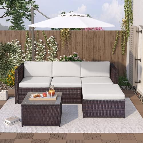 Polyrattan Garten Sofa Lounge, Sitzgruppe Lounge, Rattan Gartenmöbel Set mit Sofa, Glastisch und Hocker Gartenmöbe Loungel für Garten Balkon Terrasse (Braun)