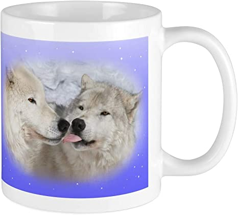 Cafepress Kissing Arctic Wolves Wolf Mug Unique Coffee Mug Coffee Cup Kitchen Dining