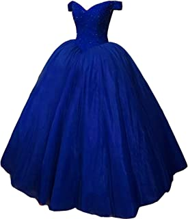 Kivary Heavy Off Shoulder Long Prom Dresses Formal Evening Ball Gown